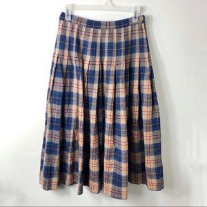 Vintage Pendleton Wool Tartan Plaid Pleated Skirt